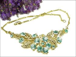 Vintage Jewelry Necklace, Light Blue RS and Golden Leaf Motif
