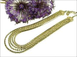 FIVE Strand Gold Necklace, two strands of snake chain and three strands of decorative ball link