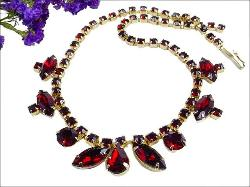 Intensely Styled Red Vintage Necklace