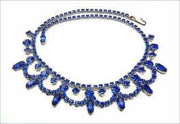 Blue Swag Rhinestone Necklace