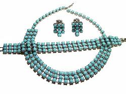 Three Strands of Blues | Necklace Bracelet Earrings Parure