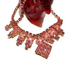 Ornate Pink Diamond, Pink Cabochon, and Chatons RS Necklace