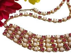 Four strands of rhinestone beauty, pinks and whites