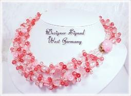 Vintage necklace, two thick strands of pinks beauty