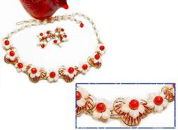 Peppermint reds and whites floral vintage jewelry