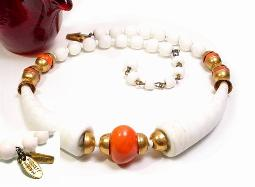 Miriam Haskell vintage jewelry necklace choker with white tumbler glass beads and brass color findings