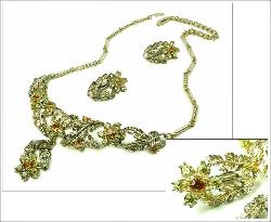 Topaz and Citrine Colored Florals Vintage Necklace Set 1940s