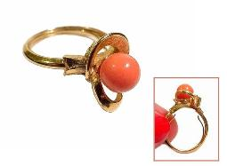 Avon, golden ring with faux coral stone, size 8-9
