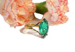 Teal blue vintage marquise ring, size 7