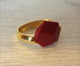 Vintage Trifari bracelet hinged set with a large deep red simulated insert