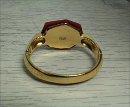 Trifari, golden set with a large deep red sim insert