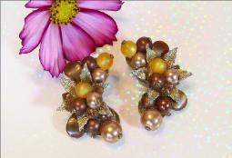 Champaign Pearl And Light Amber Bead | Long Earrings