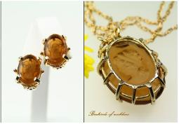Matching amber glass faceted stone cameo necklace and clip earring set