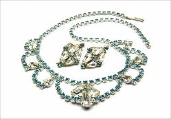 Vintage Aqua Blue Necklace and Earrings