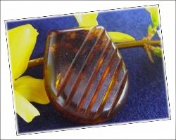 Deep Carved Bakelite Dress Clip | Tortoise Shell